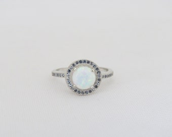 Vintage Sterling Silver White Opal & Aquamarine Halo Ring Size 6