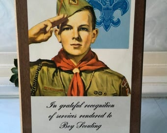 Vintage Boy Scout Recognition Plaque