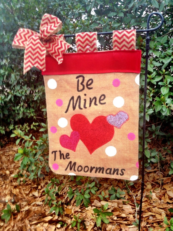 Valentines Day Garden Flag Burlap Heart Flag Personalized