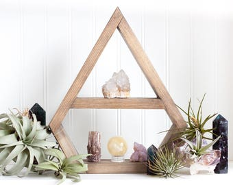 Diamond Shaped Geometric Crystal Display Shelf | Oxidized Wood Floating Wall Shelf | Crystal Display Case Shadow Box