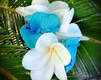 WEDDING HAIR FLOWERS, Silk flowers, hair clip, Tropical flowers, Bridal headpiece, turquoise flowers, Fascinator, Beach Wedding, Hawaiian