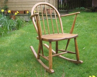 SOLD***  Refinished Vintage Ercol rocking chair, small rocking chair for child, small adult. Utility furniture marked 1950s 60s, mid century