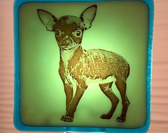 Chihuahua Dog Fused Glass Night Light