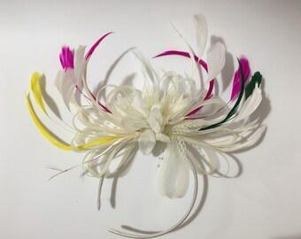 Bespoke Cream Fascinator on Headband Alice Band UK Wedding Ascot Races Loop
