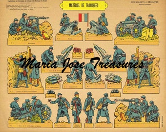 Vintage  French Infantry Soldiers in the trenches Paper Doll Cut Outs - Digital Download
