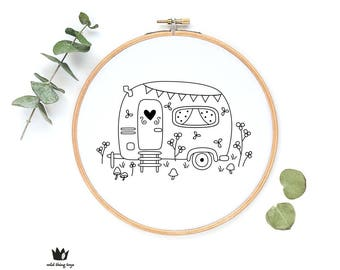 Caravan, camper van, cute whimsical, flowers, garden, house  sampler Digital hand embroidery pattern , PDF instant Download