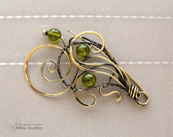 brass brooch, wire wrapped brooch, wire wrapped pin with chrysolite #5
