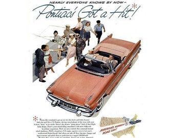 Vintage poster ad for a 1957 Pontiac - 26