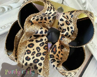 Cheetah Gold Brown Glitter Hairbow Exlarge Triple layer Bow Animal Print Leopard