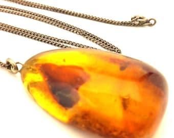 Amber Baltic Necklace Antique Genuine 7.49 Gr Cognac Excellent Color (TS600)