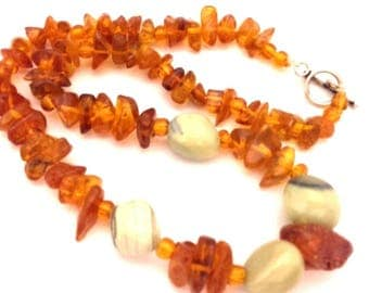 Amber Baltic Necklace Vintage Natural Genuine 49.34 Gr Cognac Color With Olive Jasper Nuggets Beads (TX003)