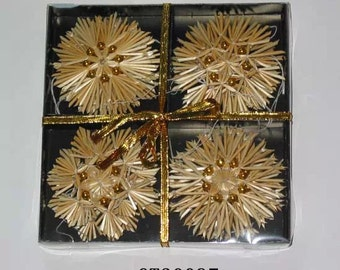 Scandinavian Straw Ornaments - Box of 12 pieces - #H1-1408