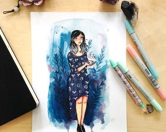 Witchsona Watercolor Illustration Print