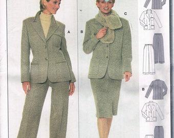 Size 8-18 Misses' Jacket Skirt & Pants Sewing Pattern - Wide Leg Pants Pattern - Knee Length Skirt - Suit Jacket Pattern - Burda 8713
