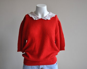 Vintage 1980's Red Lace Crochet Peter Pan Collar Short Sleeve Knit Sweater Top Retro Shirt Plis Size Medium Large X-large 4th Fourth of July