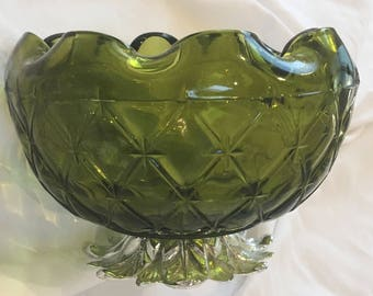 Vintage Indiana Glass Green Pineapple-Footed Bowl