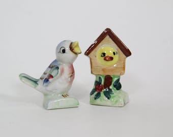 Vintage Bluebird Blue Bird with Bird House Salt and Pepper Shaker Set Cute Kitsch