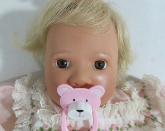 Reborn Doll Magnetic Pacifier PINK BEAR Pre-Made With Extra Magnet + Putty OOAK