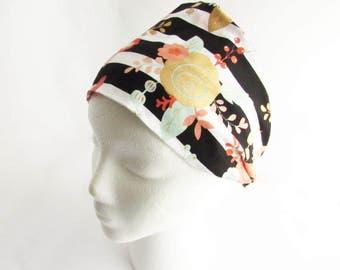 Flower Headband - Coral, Gold & Mint Fitness headband - Hippie Headband - Hair Headband - Non Slip Headband - Wide headband - Ready to Ship