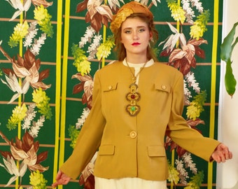 Stunning Vintage 40's Jacket . Gold Ochre Gabardine . Celluloid Buttons . Chic Hollywood Glamour Eras Style . Skirt Suits or Slacks Pizzaz!
