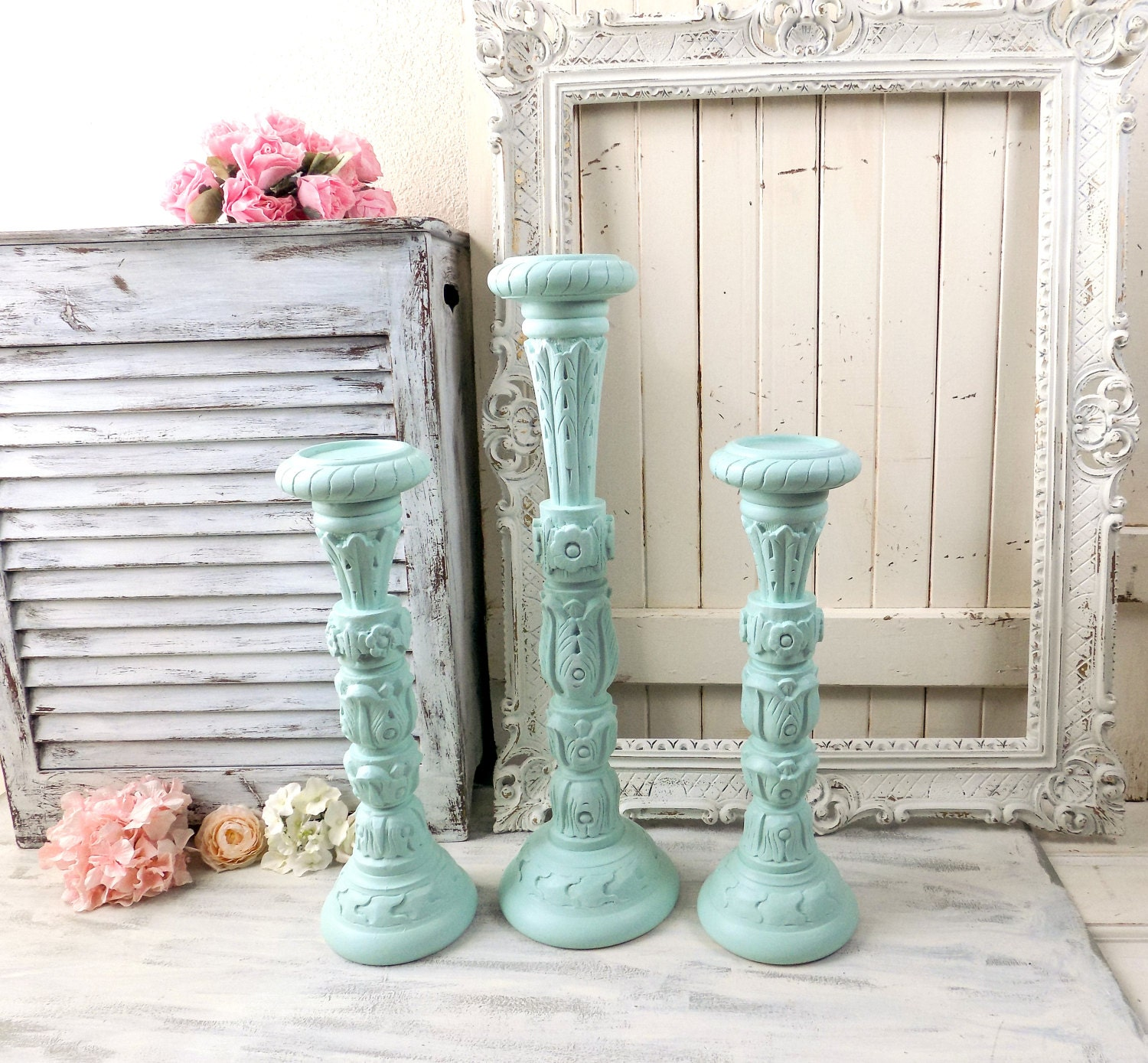 Aqua Ornate Tall Candle Holders Carved Wooden Pillar Candle