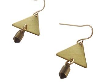 Triangle Spike Earrings; Triangle Earrings; Spike Earrings; Geometric Earrings; Dangle Earrings; Gold Earrings; Boho Jewelry;