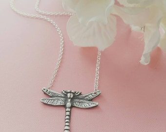Silver Hand crafted dragonfly necklace