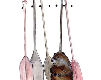 Beaver at the lake paddling spring Print 8x10
