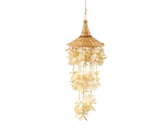 Vintage 1970's White Sea Shell Bohemian Hanging Swag Lamp Chandelier Boho Beach Decor