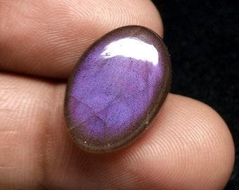 Oval Labradorite Cabochon Gemstone 19x13x6 mm, Genuine Purple Flashy Stone