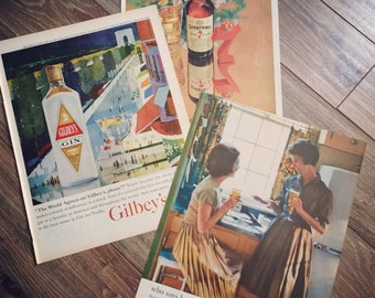 FREE SHIPPING on 3 vintage alcohol ads, including Gilbey's Gin, Seagram's Whiskey and The United Brewers Association. Great retro ephemera.