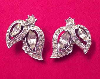 Stunning Vintage 50's Clear Rhinestone Diamante Clip On Earrings Bridal Prom