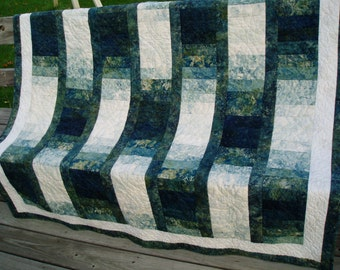 Hand Quilted Lap Quilt - Hand Quilted Baby Quilt - Shades of Teal
