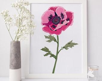 Poppy Wall Art, Modern Botanical Home Decor, Gallery Wall Decor, Gift For Her, Living Room Decor