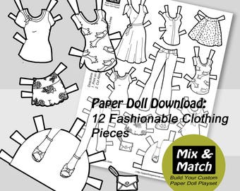 paper doll princess dresses mix & match digital paper doll - Paper Doll Clothes Coloring Pages