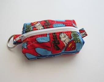Teeny, Tiny, Miniature Duffle bag. Zipper Pouch, Keychain Pouch, Coin Purse, Keyring, Superman, DC