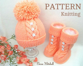 Knitting PATTERN for Babies Knitted Baby Set Baby Shoes Knitted Baby Hat Pattern Baby Booties Baby Boy Baby Girl Pattern ( PDF file )