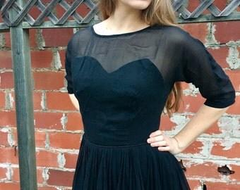 Sheer Black Vintage Dress / 1950's Black Dress / Sweatheart Neckline / Black Knee Length Dress / Size Medium