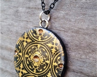 Black and Gold Polymer Clay Necklace Pendant