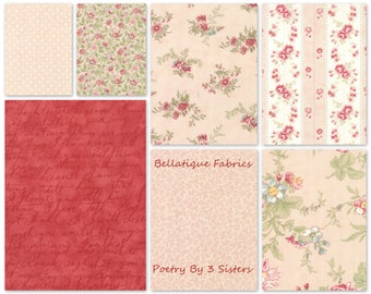 3 Sisters POETRY Fat Quarters 7 (7fq's) in the Blush Color Palette For Moda Fabric