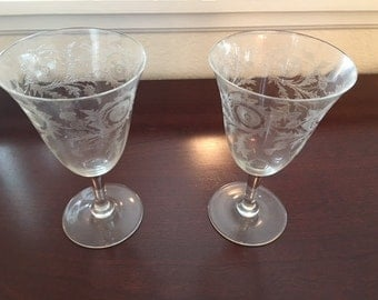 Pair of Antique Floral Design Crystal Goblets