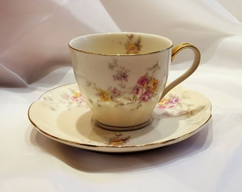 Porcelain Tea Cup, Theodore Haviland, Haviland New York, Made in America, Hand Gilded, Gold Rim, Teacup and Saucer, Collectible Tea Cup