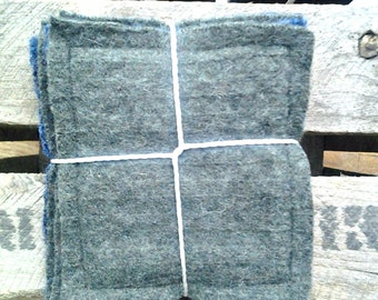 Drink Coasters*Felted Wool Fabric Coasters*Rustic Coasters*Home Decor*Green*Blue*Set Of 4
