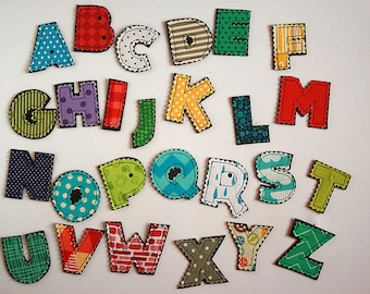 fabric alphabet letters in mixed colors and patterns 45cm tall 1 letterabc set