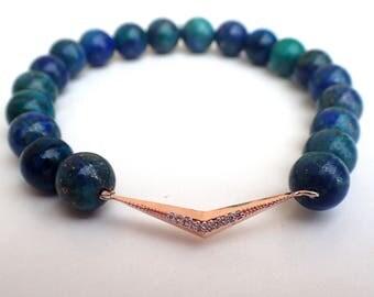 Chrysocolla bracelet, Gift for her , Healing bracelet , Gift womans , Beaded bracelet , Gift for girlfriend , Gift for wife