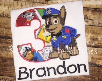 Chase Paw Patrol Birthday Shirt #1-9