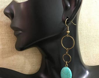 ON SALE Reconstructed Turquoise with Circle Brass Tone Metal Accents Beaded Dangle Earrings