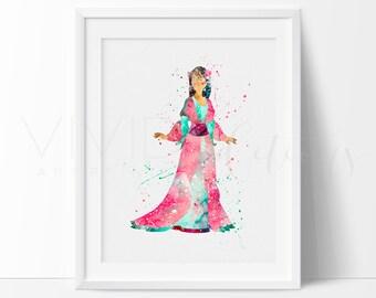 Mulan Print, Disney Watercolor Art, Nursery Wall Art, Kids Bedroom Decor, Kids Interiors, Gift Idea, Home Decor, Buy 2 Get 1 Free, No. 165