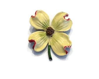 Vintage 1960s Flower Brooch, Enamel Flower Brooch, Yellow and Red Dogwood Brooch, Mod Flower Pin, Flower Power Brooch, Costume Jewelry