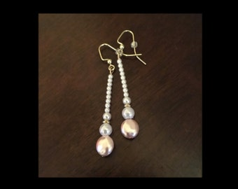 Pink & 'Pearl' Drop Earrings
